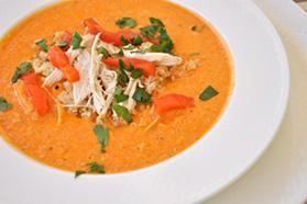 Chicken Soup with Quinoa & Roasted Red Peppers