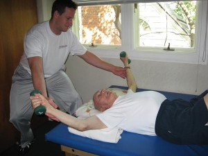 Billy training an octogenarian in his home