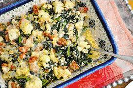 Cauliflower, Kale and Chicken Sausage Bake